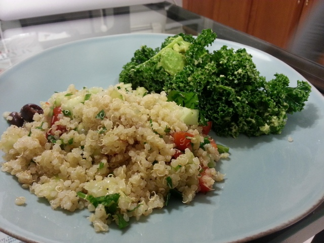 Paired the quinoa tabouleh with a kale/avocado salad. The flavors are light and crisp and made for a very refreshing meal.